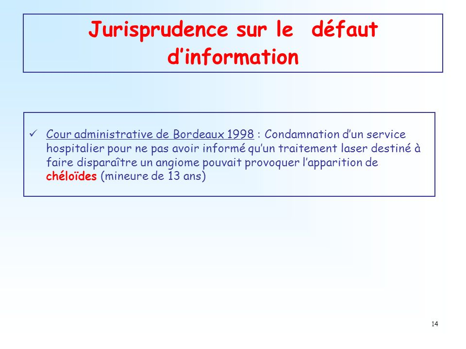 14 Jurisprudence sur le défaut dinformation Cour administrative de Bordeaux 1998 : Condamnation dun service hospitalier pour ne pas avoir informé quun