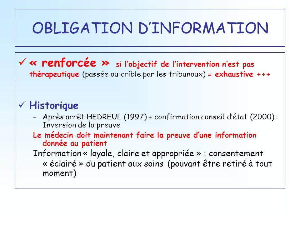 OBLIGATION DINFORMATION « renforcée » si lobjectif de lintervention nest pas thérapeutique (passée au crible par les tribunaux) = exhaustive +++ Histo