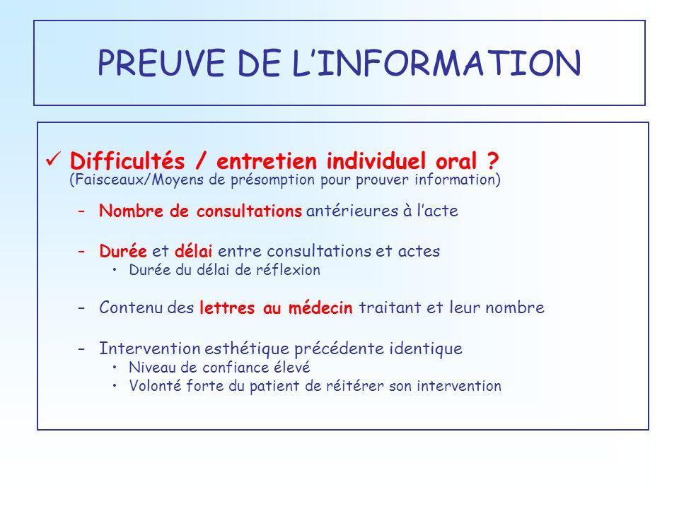 PREUVE DE LINFORMATION Difficultés / entretien individuel oral ? (Faisceaux/Moyens de présomption pour prouver information) –Nombre de consultations a