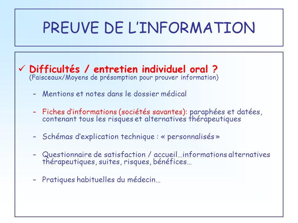 PREUVE DE LINFORMATION Difficultés / entretien individuel oral ? (Faisceaux/Moyens de présomption pour prouver information) –Mentions et notes dans le