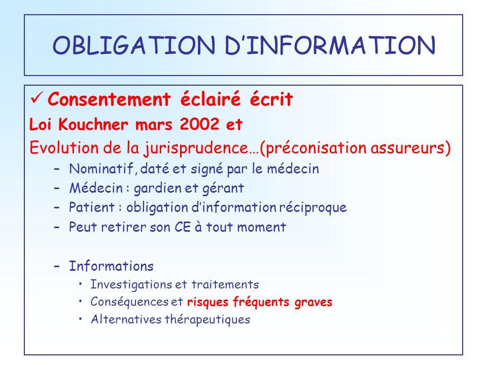 OBLIGATION DINFORMATION Consentement éclairé écrit Loi Kouchner mars 2002 et Evolution de la jurisprudence…(préconisation assureurs) –Nominatif, daté