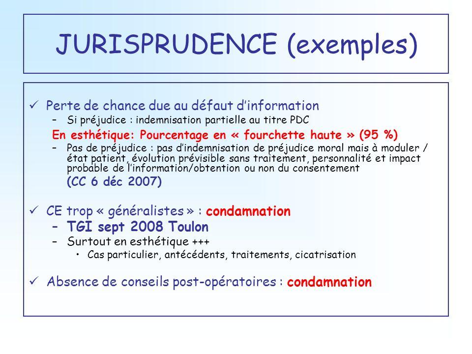 JURISPRUDENCE (exemples) Perte de chance due au défaut dinformation –Si préjudice : indemnisation partielle au titre PDC En esthétique: Pourcentage en