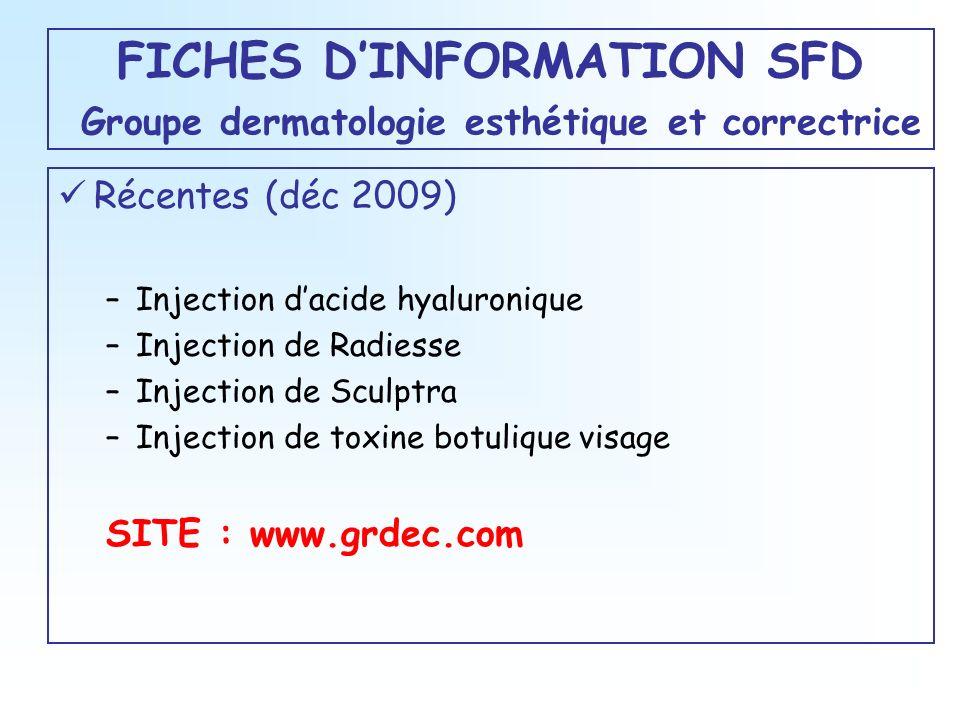 FICHES DINFORMATION SFD Groupe dermatologie esthétique et correctrice Récentes (déc 2009) –Injection dacide hyaluronique –Injection de Radiesse –Injec