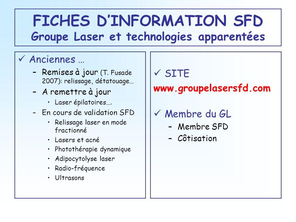 FICHES DINFORMATION SFD Groupe Laser et technologies apparentées Anciennes … –Remises à jour (T. Fusade 2007): relissage, détatouage… –A remettre à jo