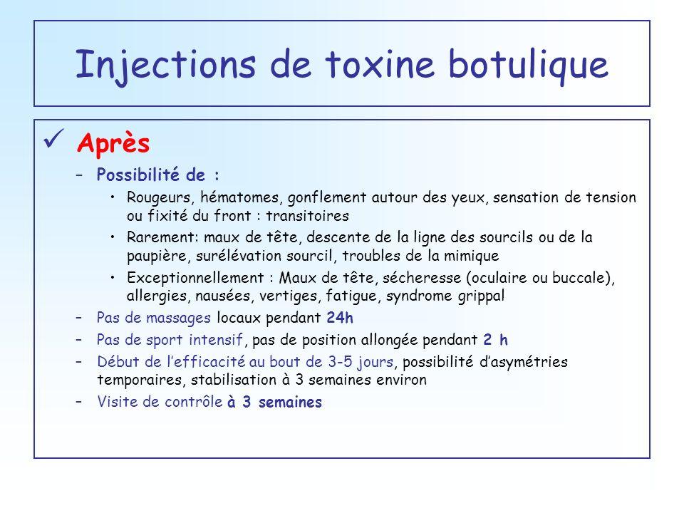 Injections de toxine botulique Après –Possibilité de : Rougeurs, hématomes, gonflement autour des yeux, sensation de tension ou fixité du front : tran