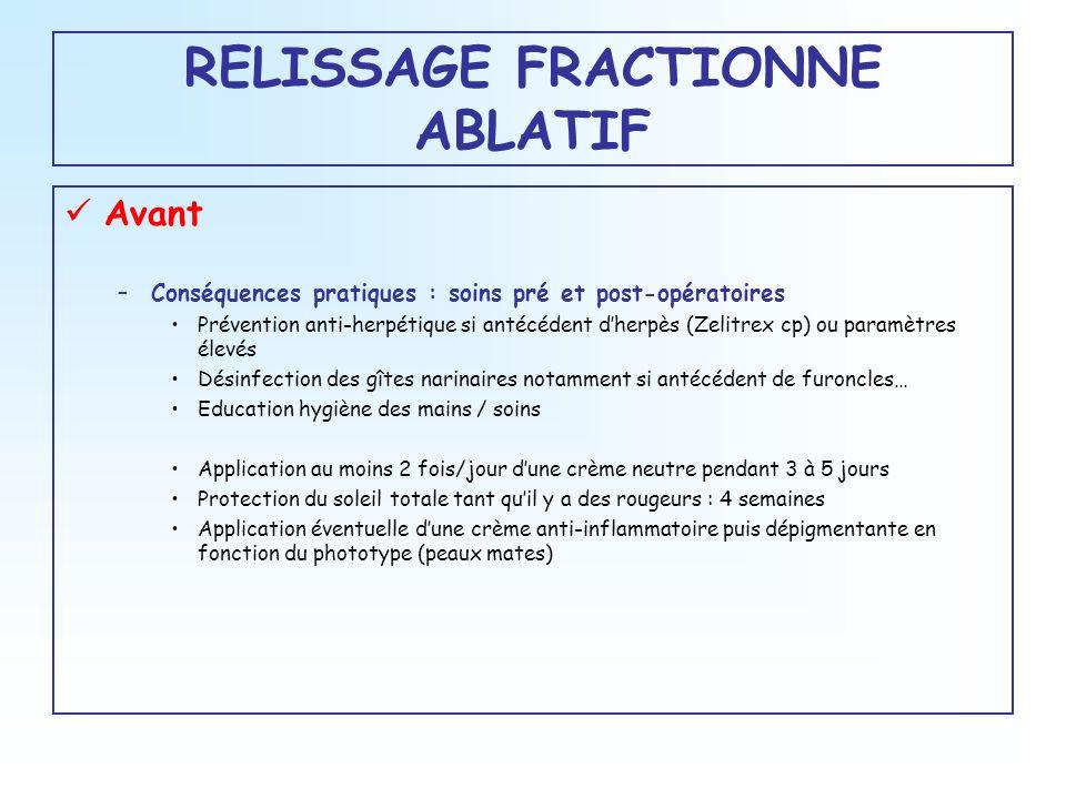 RELISSAGE FRACTIONNE ABLATIF Avant –Conséquences pratiques : soins pré et post-opératoires Prévention anti-herpétique si antécédent dherpès (Zelitrex