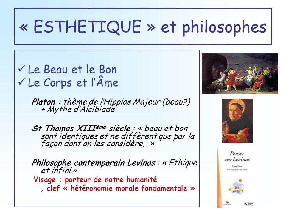 « ESTHETIQUE » et philosophes Le Beau et le Bon Le Corps et lÂme Platon : thème de lHippias Majeur (beau?) + Mythe dAlcibiade St Thomas XIII ème siècl