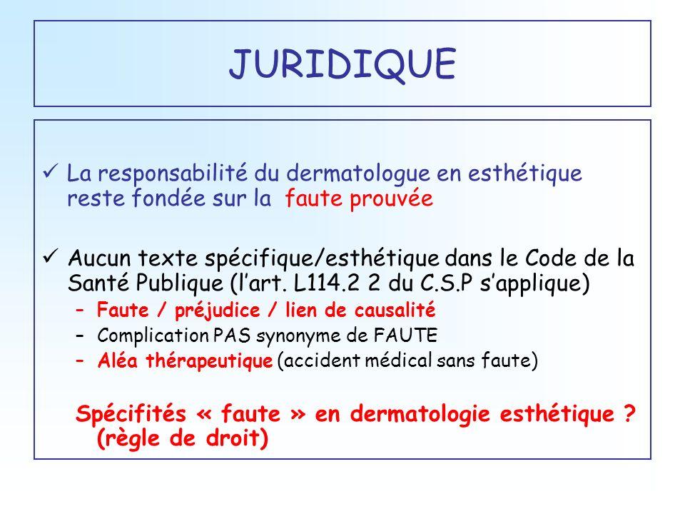 JURIDIQUE La responsabilité du dermatologue en esthétique reste fondée sur la faute prouvée Aucun texte spécifique/esthétique dans le Code de la Santé