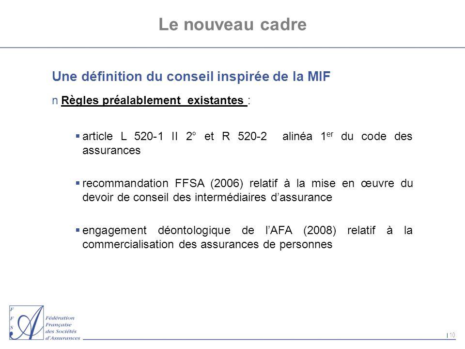 10 Le nouveau cadre Une définition du conseil inspirée de la MIF nRègles préalablement existantes : article L 520-1 II 2° et R 520-2 alinéa 1 er du co
