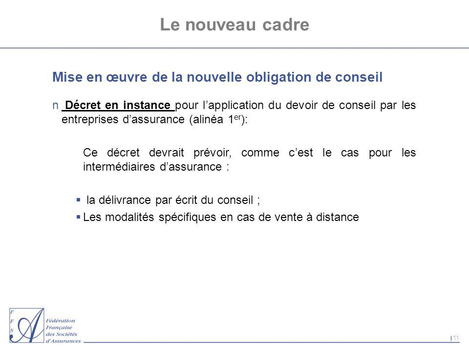 11 Le nouveau cadre Mise en œuvre de la nouvelle obligation de conseil n Décret en instance pour lapplication du devoir de conseil par les entreprises