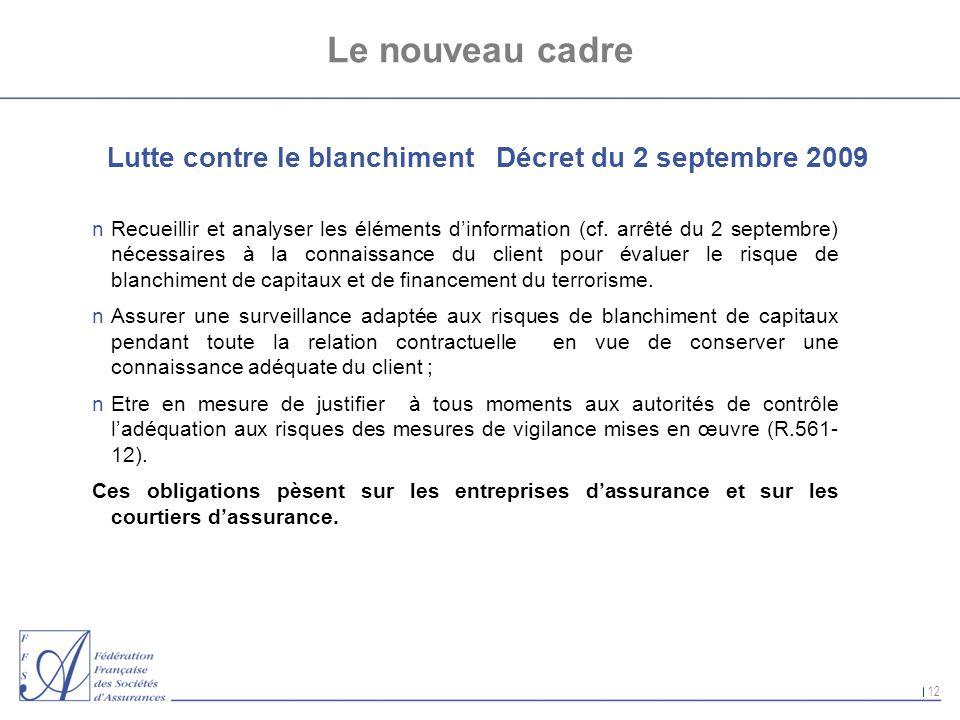 12 Le nouveau cadre Lutte contre le blanchiment Décret du 2 septembre 2009 nRecueillir et analyser les éléments dinformation (cf. arrêté du 2 septembr