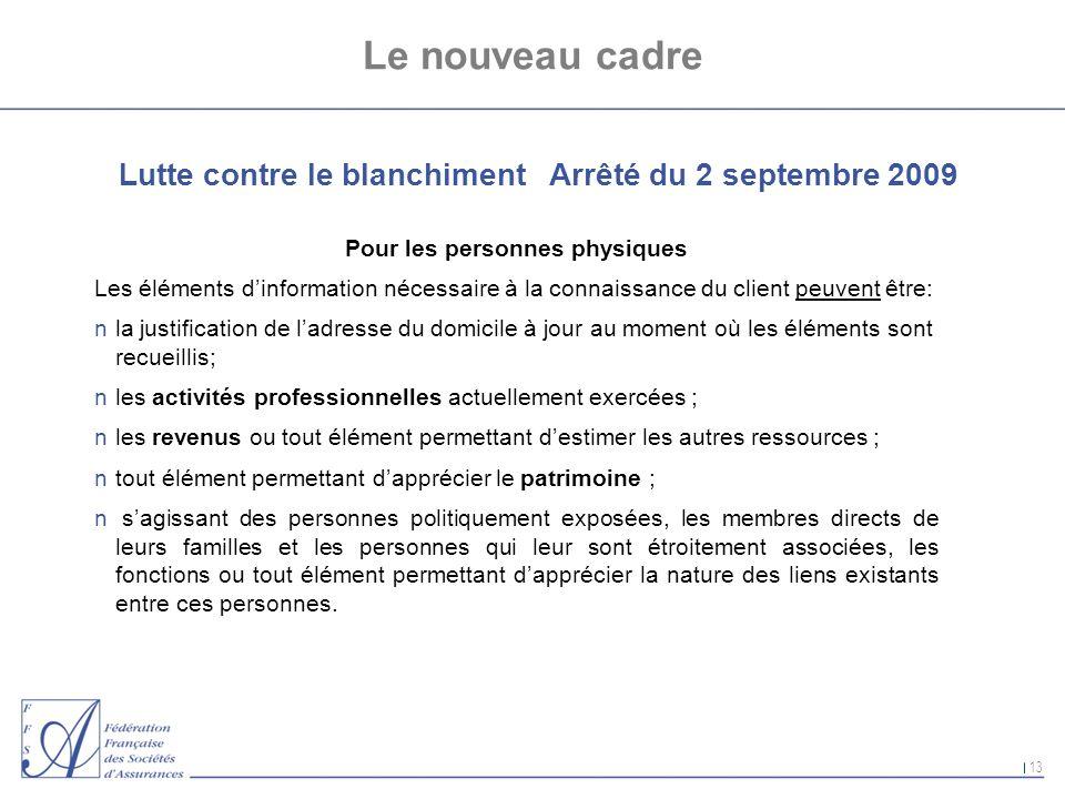 13 Le nouveau cadre Lutte contre le blanchiment Arrêté du 2 septembre 2009 Pour les personnes physiques Les éléments dinformation nécessaire à la conn