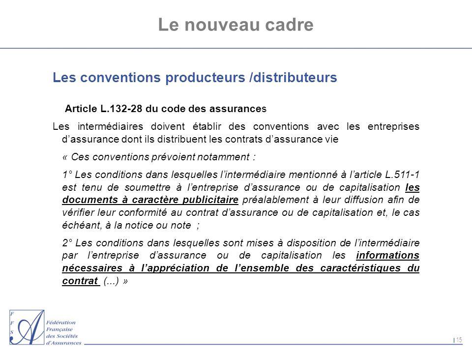 15 Le nouveau cadre Les conventions producteurs /distributeurs Article L.132-28 du code des assurances Les intermédiaires doivent établir des conventi