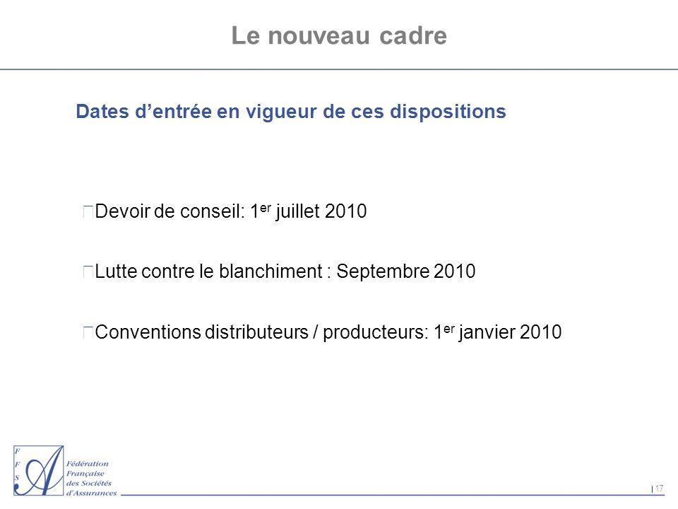 17 Le nouveau cadre Dates dentrée en vigueur de ces dispositions nDevoir de conseil: 1 er juillet 2010 nLutte contre le blanchiment : Septembre 2010 n