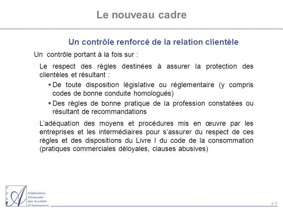 18 Le nouveau cadre Un contrôle renforcé de la relation clientèle Un contrôle portant à la fois sur : nLe respect des règles destinées à assurer la pr