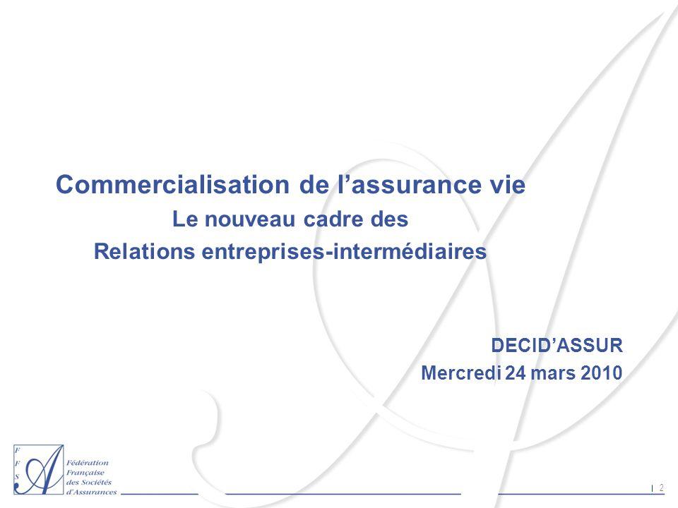 2 Commercialisation de lassurance vie Le nouveau cadre des Relations entreprises-intermédiaires DECIDASSUR Mercredi 24 mars 2010