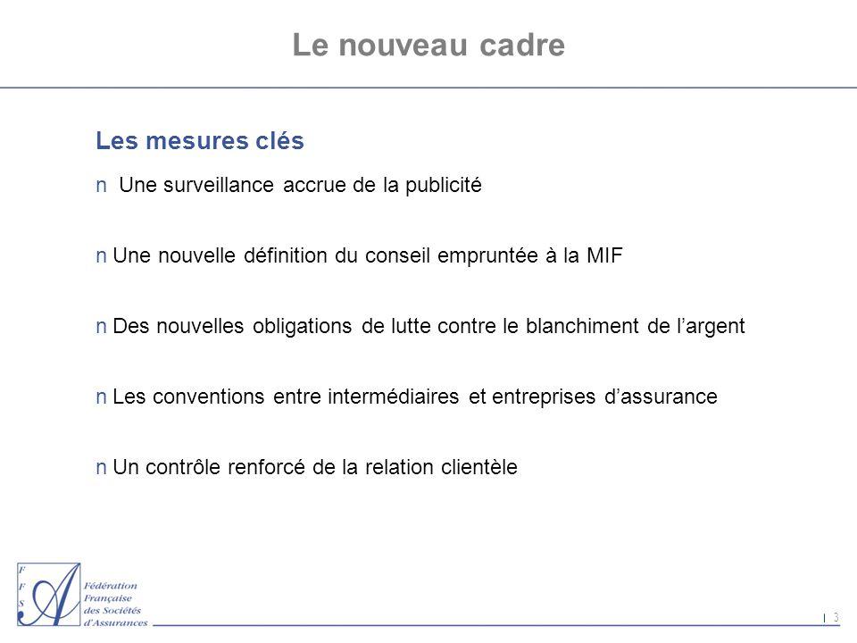 3 Le nouveau cadre Les mesures clés n Une surveillance accrue de la publicité nUne nouvelle définition du conseil empruntée à la MIF nDes nouvelles ob