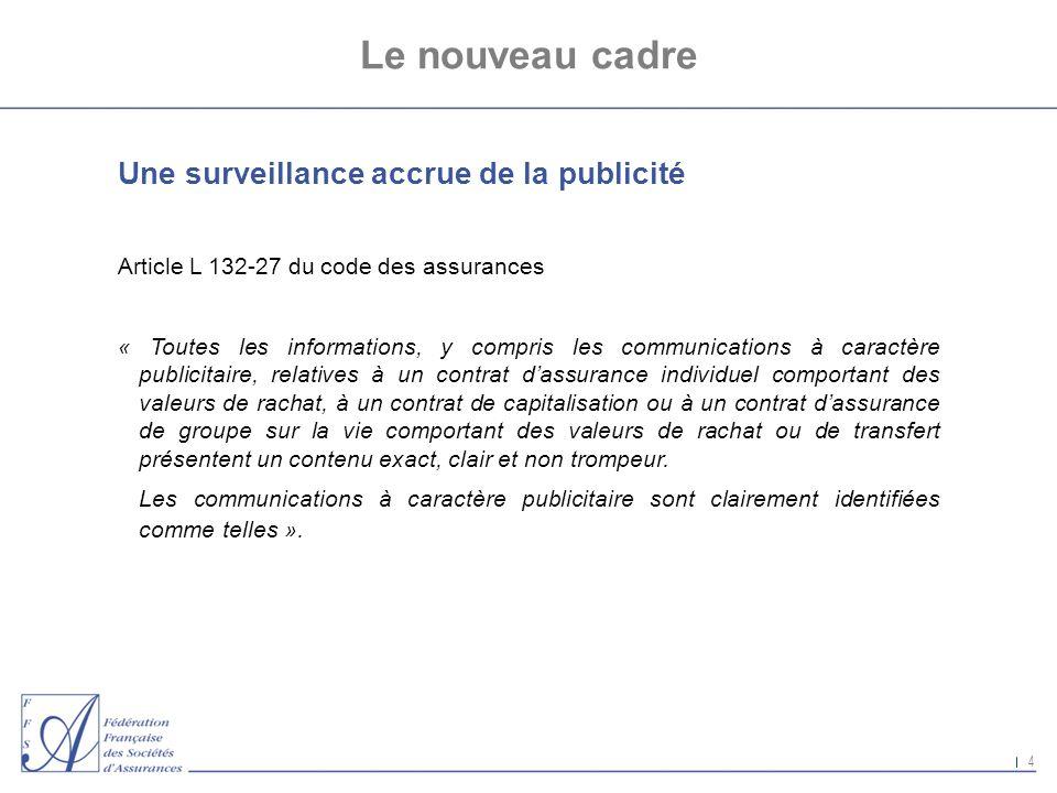 4 Le nouveau cadre Une surveillance accrue de la publicité Article L 132-27 du code des assurances « Toutes les informations, y compris les communicat
