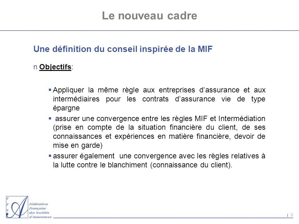 9 Le nouveau cadre Une définition du conseil inspirée de la MIF nObjectifs: Appliquer la même règle aux entreprises dassurance et aux intermédiaires p