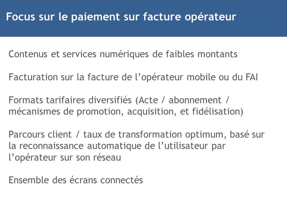 Contenus et services numériques de faibles montants Facturation sur la facture de lopérateur mobile ou du FAI Formats tarifaires diversifiés (Acte / a