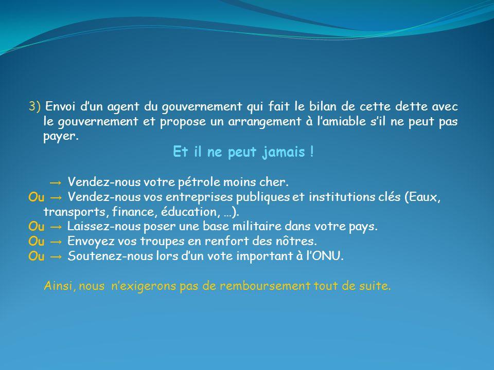 3) Envoi dun agent du gouvernement qui fait le bilan de cette dette avec le gouvernement et propose un arrangement à lamiable sil ne peut pas payer. E