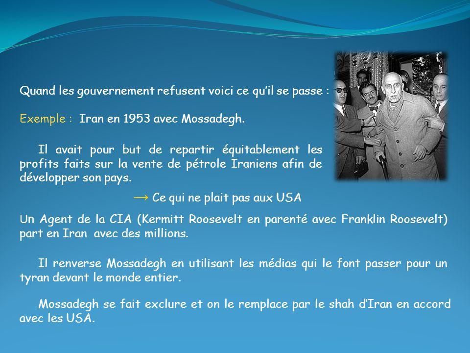 Quand les gouvernement refusent voici ce quil se passe : Exemple : Iran en 1953 avec Mossadegh. Mossadegh se fait exclure et on le remplace par le sha