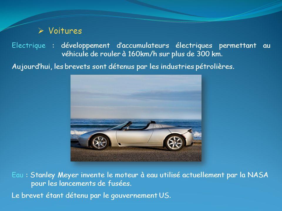 Eau : Stanley Meyer invente le moteur à eau utilisé actuellement par la NASA pour les lancements de fusées. Le brevet étant détenu par le gouvernement