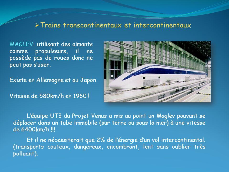 Trains transcontinentaux et intercontinentaux Vitesse de 580km/h en 1960 ! Existe en Allemagne et au Japon MAGLEV: utilisant des aimants comme propuls