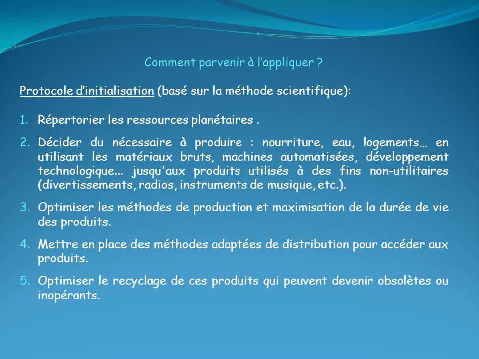 Comment parvenir à lappliquer ? Protocole dinitialisation (basé sur la méthode scientifique): 1.Répertorier les ressources planétaires. 2.Décider du n
