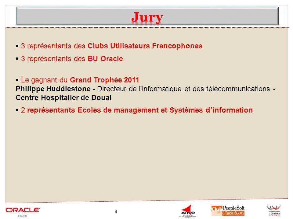 8 3 représentants des Clubs Utilisateurs Francophones 3 représentants des BU Oracle Le gagnant du Grand Trophée 2011 Philippe Huddlestone - Directeur de linformatique et des télécommunications - Centre Hospitalier de Douai 2 représentants Ecoles de management et Systèmes dinformation