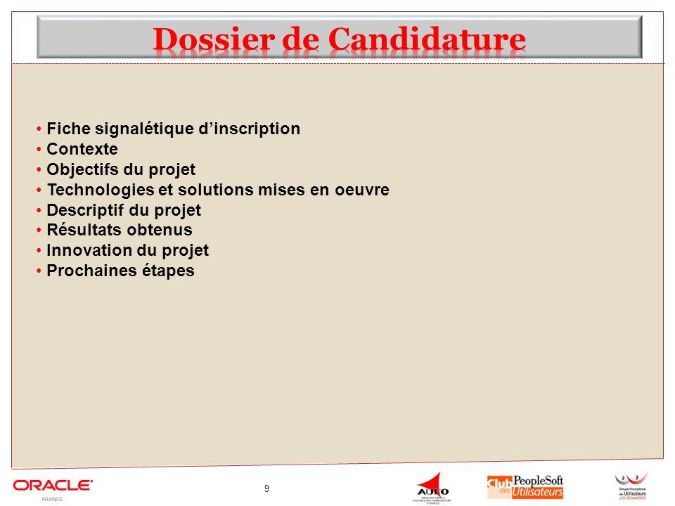 9 Fiche signalétique dinscription Contexte Objectifs du projet Technologies et solutions mises en oeuvre Descriptif du projet Résultats obtenus Innovation du projet Prochaines étapes