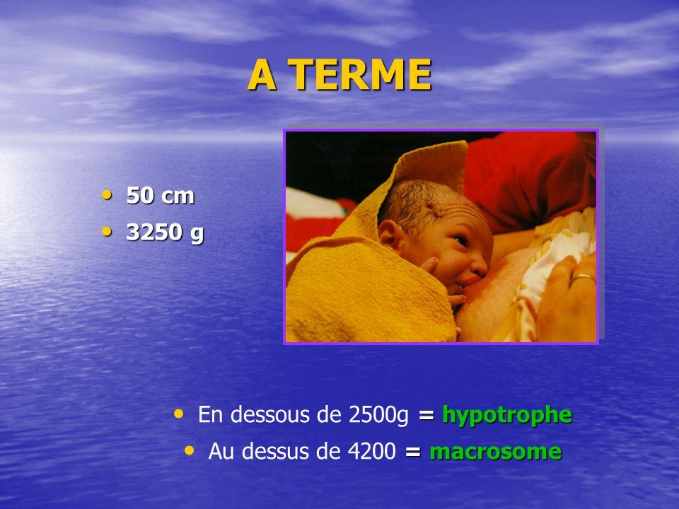 A TERME 50 cm 50 cm 3250 g 3250 g = hypotrophe En dessous de 2500g = hypotrophe = macrosome Au dessus de 4200 = macrosome