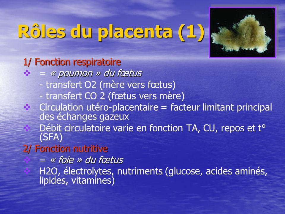 Rôles du placenta (1) 1/ Fonction respiratoire « poumon » du fœtus = « poumon » du fœtus - transfert O2 (mère vers fœtus) - transfert CO 2 (fœtus vers