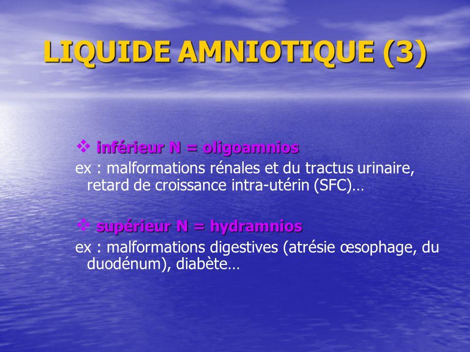 LIQUIDE AMNIOTIQUE (3) inférieur N = oligoamnios inférieur N = oligoamnios ex : malformations rénales et du tractus urinaire, retard de croissance int