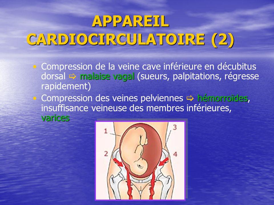 APPAREIL CARDIOCIRCULATOIRE (2) malaise vagalCompression de la veine cave inférieure en décubitus dorsal malaise vagal (sueurs, palpitations, régresse
