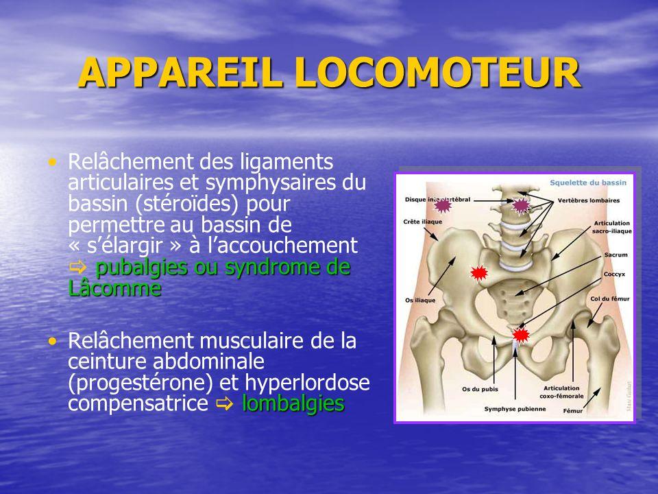 pubalgies ou syndrome de LâcommeRelâchement des ligaments articulaires et symphysaires du bassin (stéroïdes) pour permettre au bassin de « sélargir »