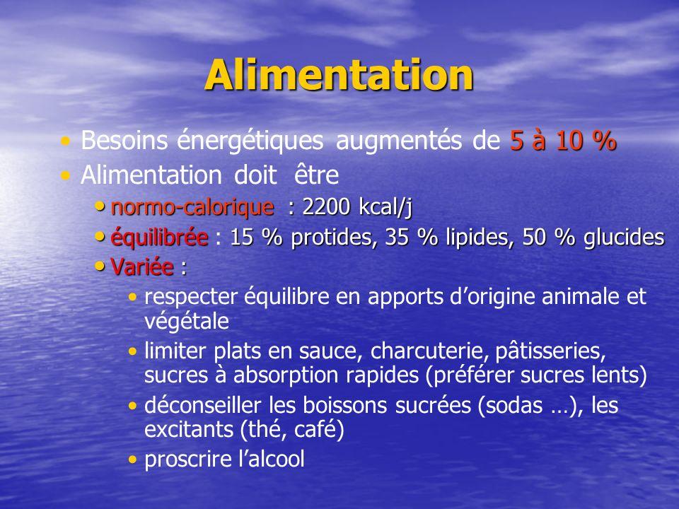 Alimentation 5 à 10 %Besoins énergétiques augmentés de 5 à 10 % Alimentation doit être normo-calorique : 2200 kcal/j normo-calorique : 2200 kcal/j équ