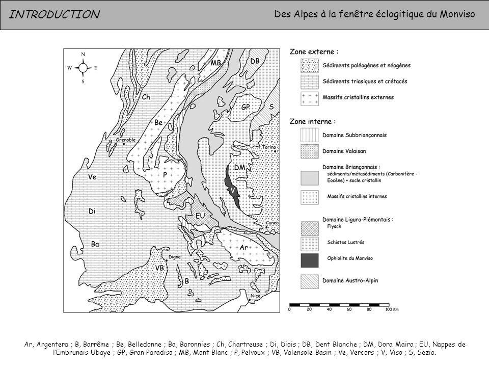 INTRODUCTION Des Alpes à la fenêtre éclogitique du Monviso Ar, Argentera ; B, Barrême ; Be, Belledonne ; Ba, Baronnies ; Ch, Chartreuse ; Di, Diois ;