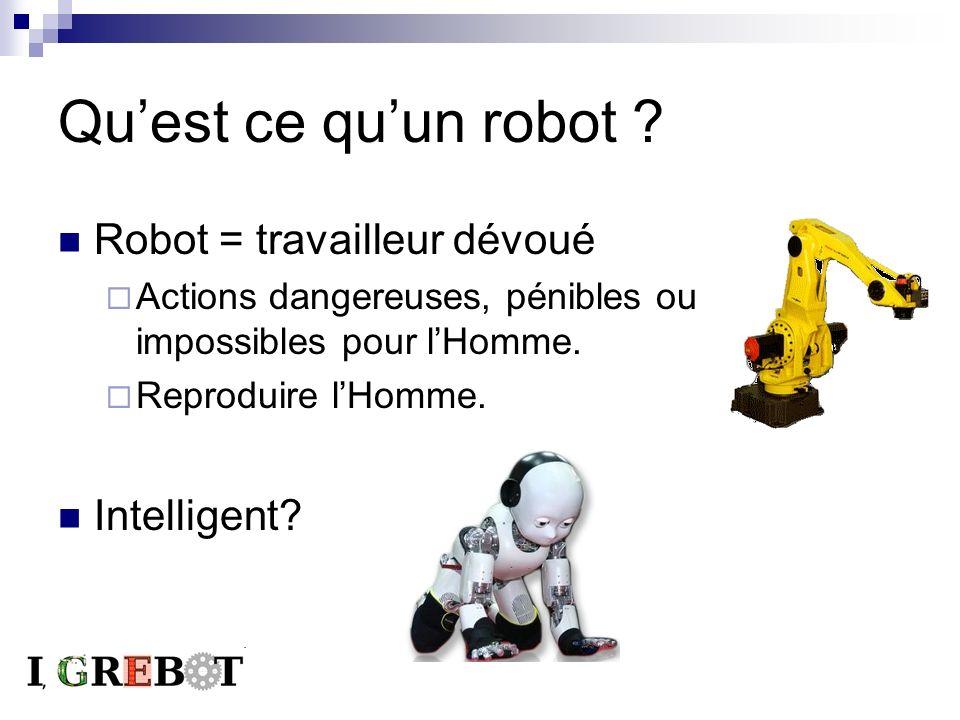 Quest ce quun robot ? Robot = travailleur dévoué Actions dangereuses, pénibles ou impossibles pour lHomme. Reproduire lHomme. Intelligent?