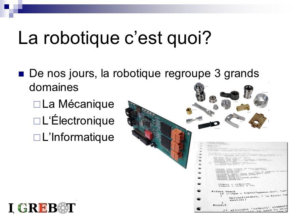 La robotique cest quoi? De nos jours, la robotique regroupe 3 grands domaines La Mécanique LÉlectronique LInformatique