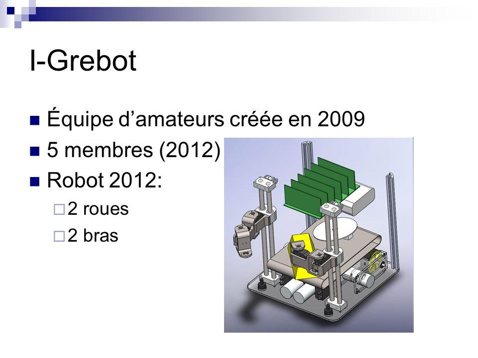 I-Grebot Équipe damateurs créée en 2009 5 membres (2012) Robot 2012: 2 roues 2 bras
