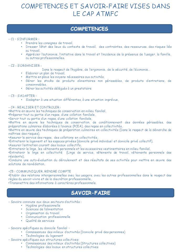 COMPETENCES ET SAVOIR-FAIRE VISES DANS LE CAP ATMFC - C1 : SINFORMER : Prendre les consignes de travail, Dresser létat des lieux du contexte de travai
