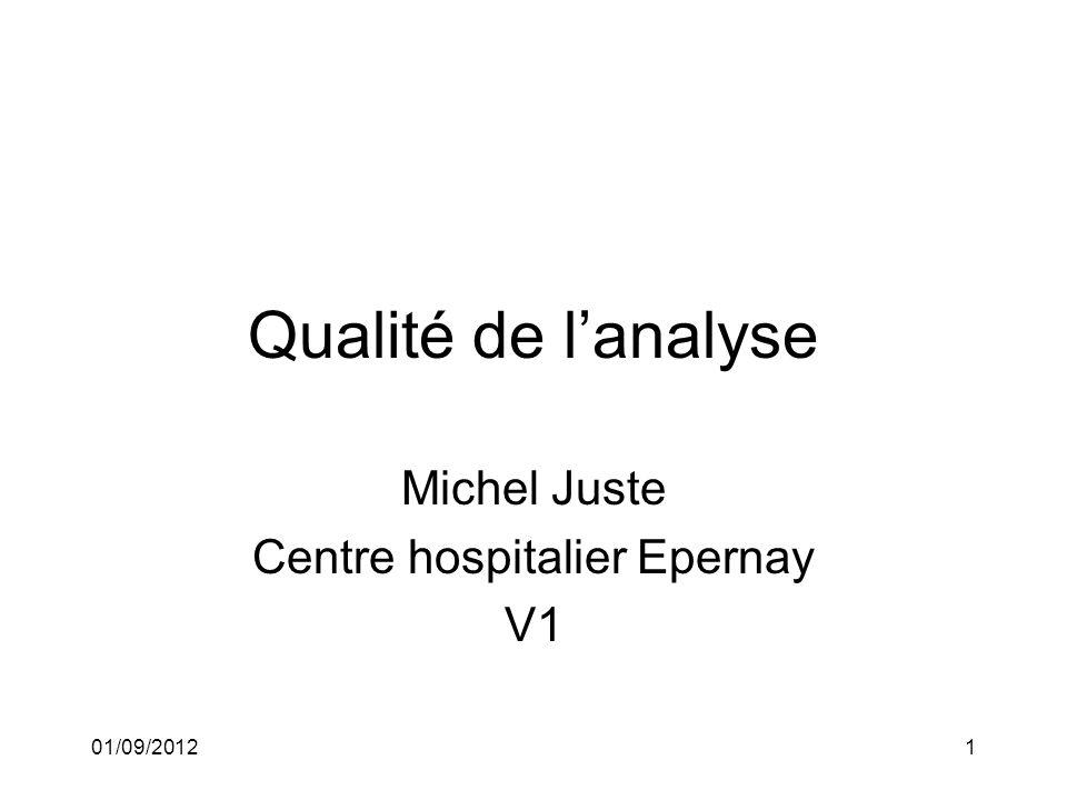 01/09/20121 Qualité de lanalyse Michel Juste Centre hospitalier Epernay V1
