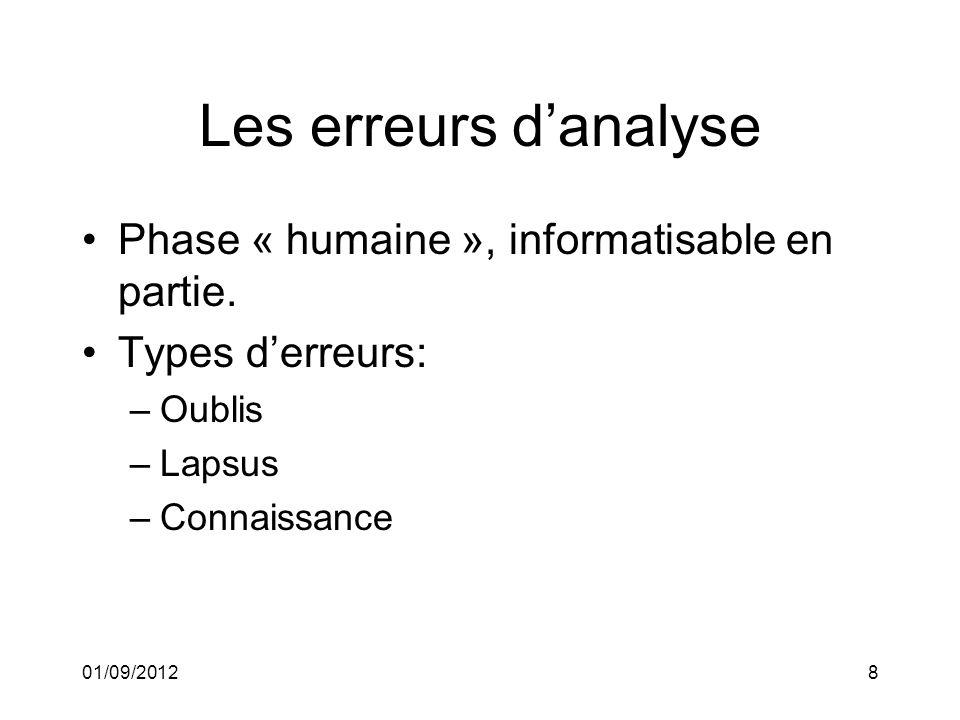 01/09/20128 Les erreurs danalyse Phase « humaine », informatisable en partie.