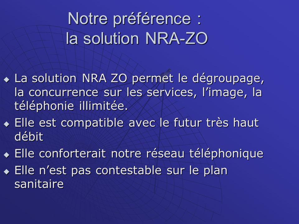 Notre préférence : la solution NRA-ZO La solution NRA ZO permet le dégroupage, la concurrence sur les services, limage, la téléphonie illimitée.