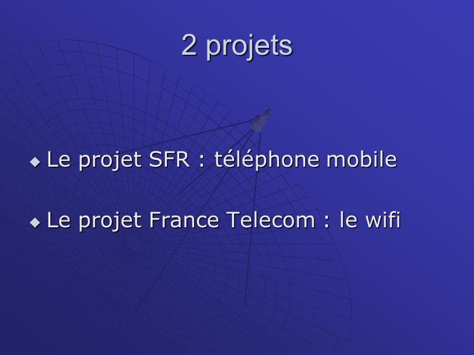 2 projets Le projet SFR : téléphone mobile Le projet SFR : téléphone mobile Le projet France Telecom : le wifi Le projet France Telecom : le wifi