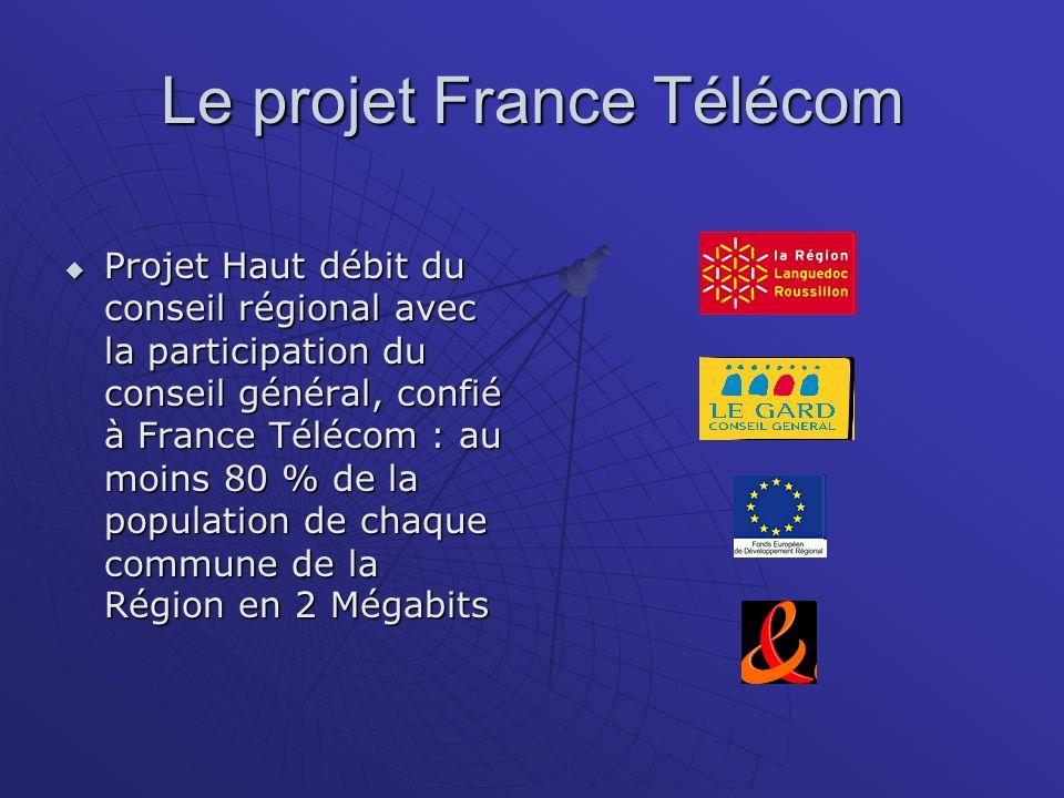 Le projet France Télécom Projet Haut débit du conseil régional avec la participation du conseil général, confié à France Télécom : au moins 80 % de la population de chaque commune de la Région en 2 Mégabits Projet Haut débit du conseil régional avec la participation du conseil général, confié à France Télécom : au moins 80 % de la population de chaque commune de la Région en 2 Mégabits