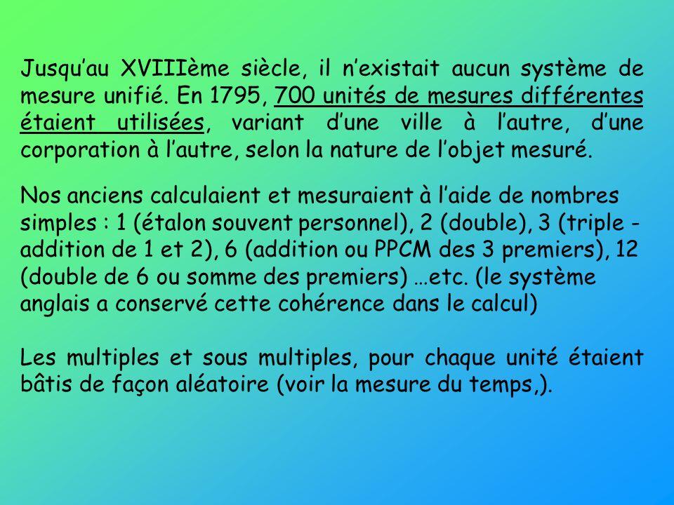 Jusquau XVIIIème siècle, il nexistait aucun système de mesure unifié. En 1795, 700 unités de mesures différentes étaient utilisées, variant dune ville