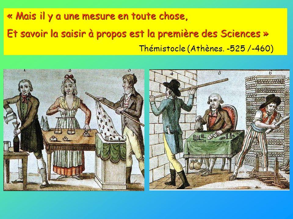 « Mais il y a une mesure en toute chose, Et savoir la saisir à propos est la première des Sciences » Thémistocle (Athènes. -525 /-460)