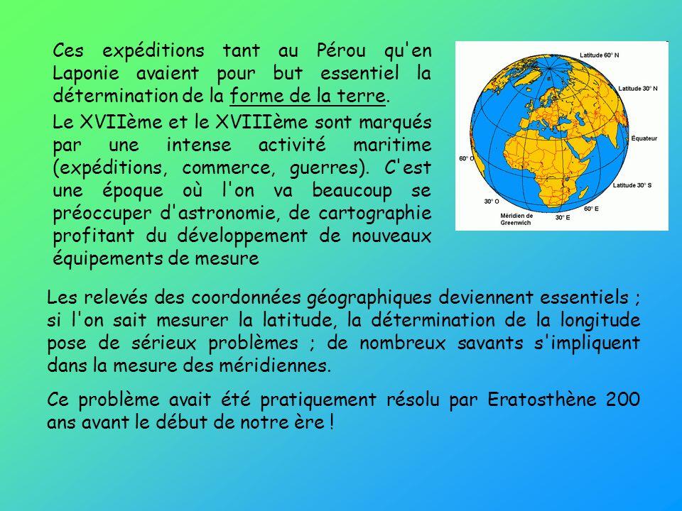 Les relevés des coordonnées géographiques deviennent essentiels ; si l'on sait mesurer la latitude, la détermination de la longitude pose de sérieux p